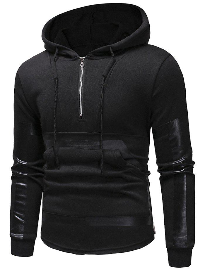 Chic Kangaroo Pocket Zipper Panel Pullover Hoodie