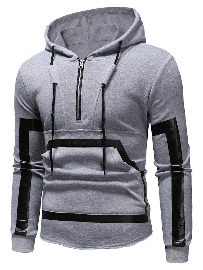 Kangourou Pocket Zipper Panel Pullover Sweat à capuche
