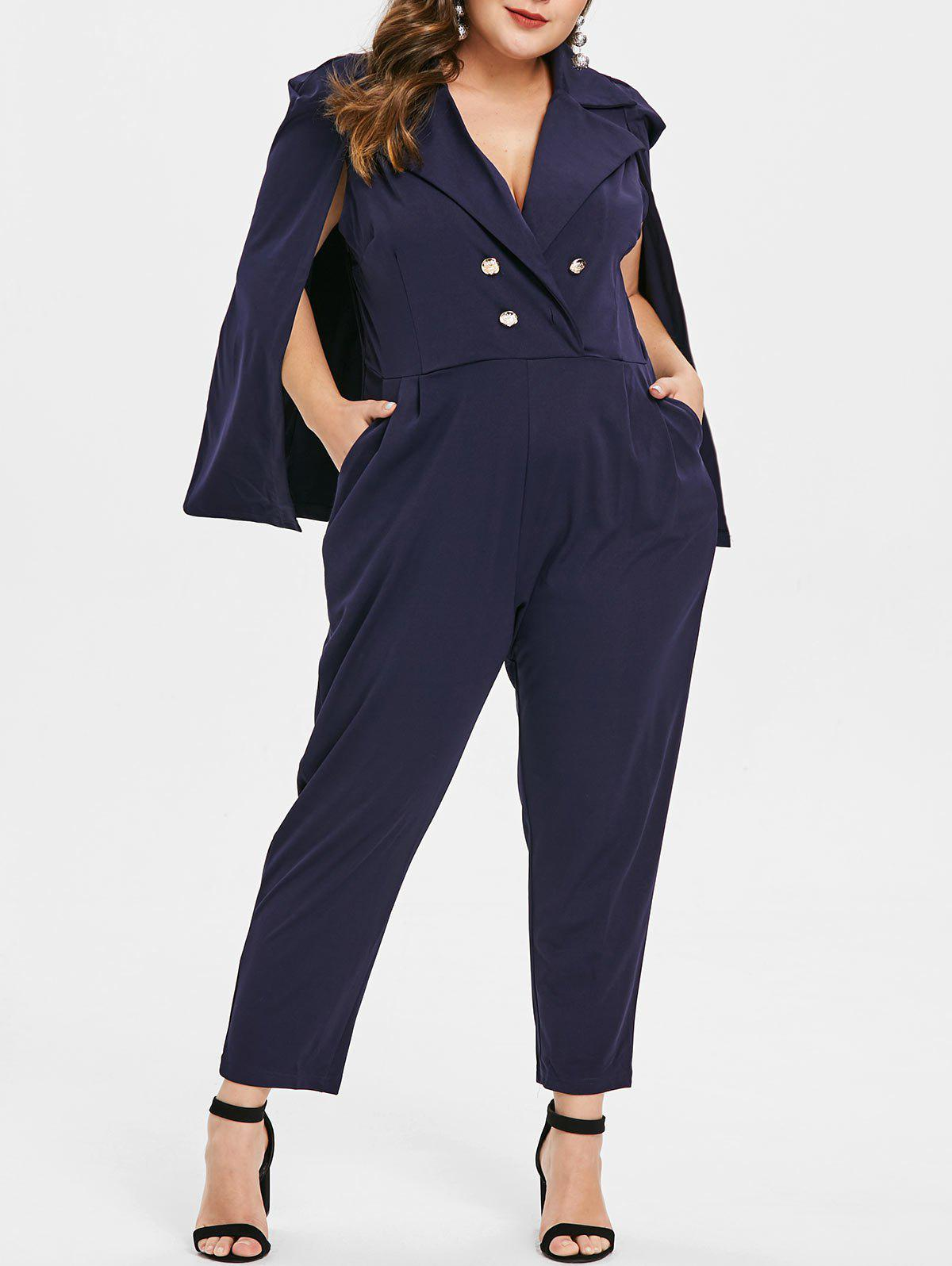 cbc21c25653 2019 Plus Size High Waisted Cape Jumpsuit With Buttons
