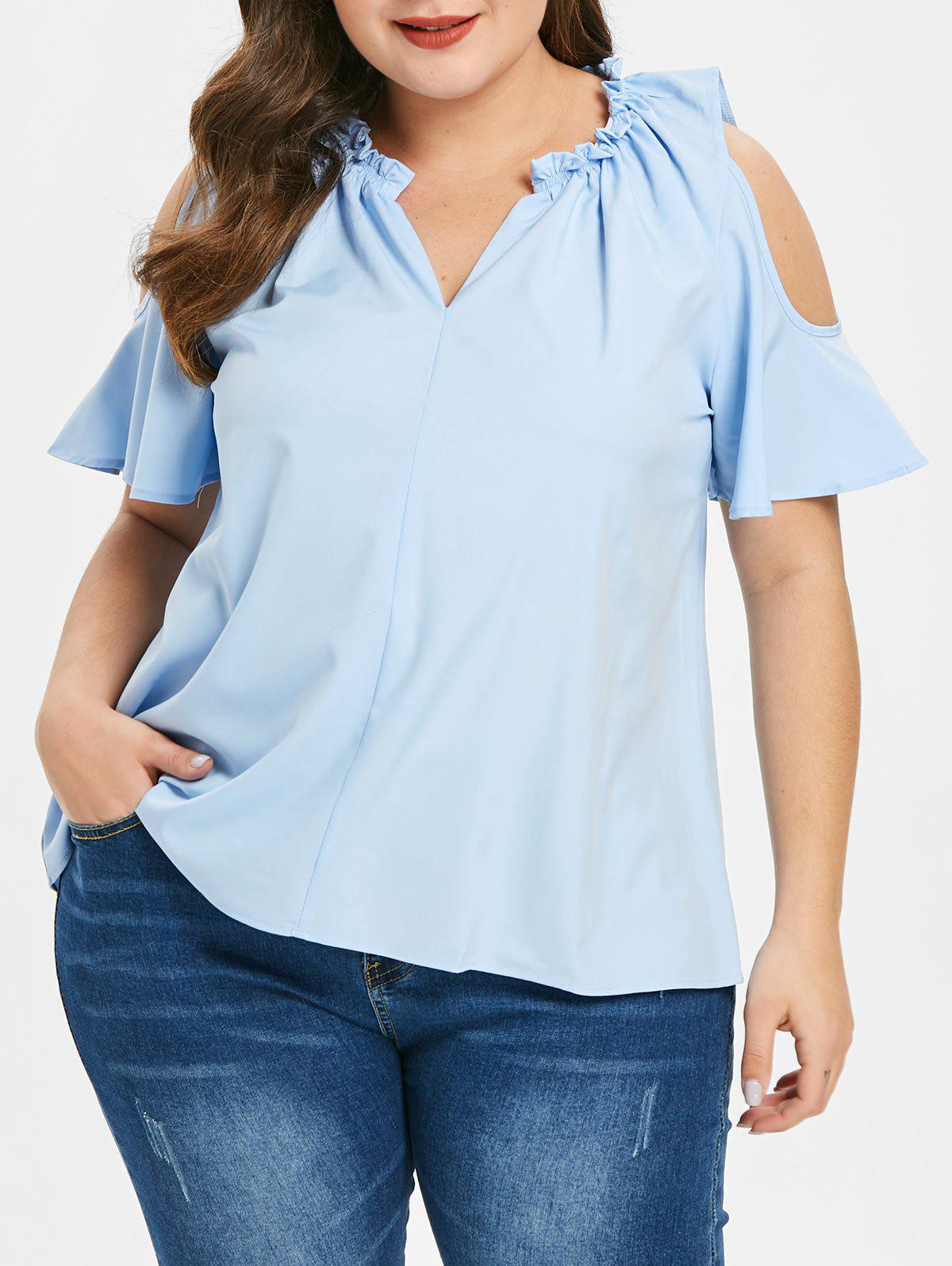 9f047762bf8e6 Discount Plus Size Cold Shoulder Blouse with Ruffles