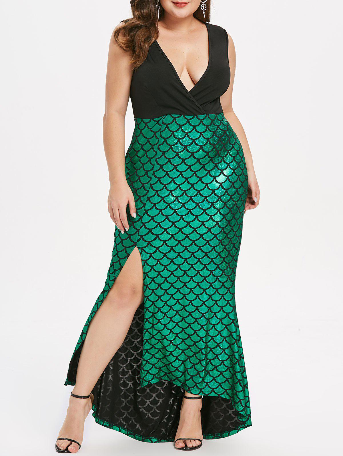 Affordable Plus Size Fish Scale Asymmetric Slit Party Dress