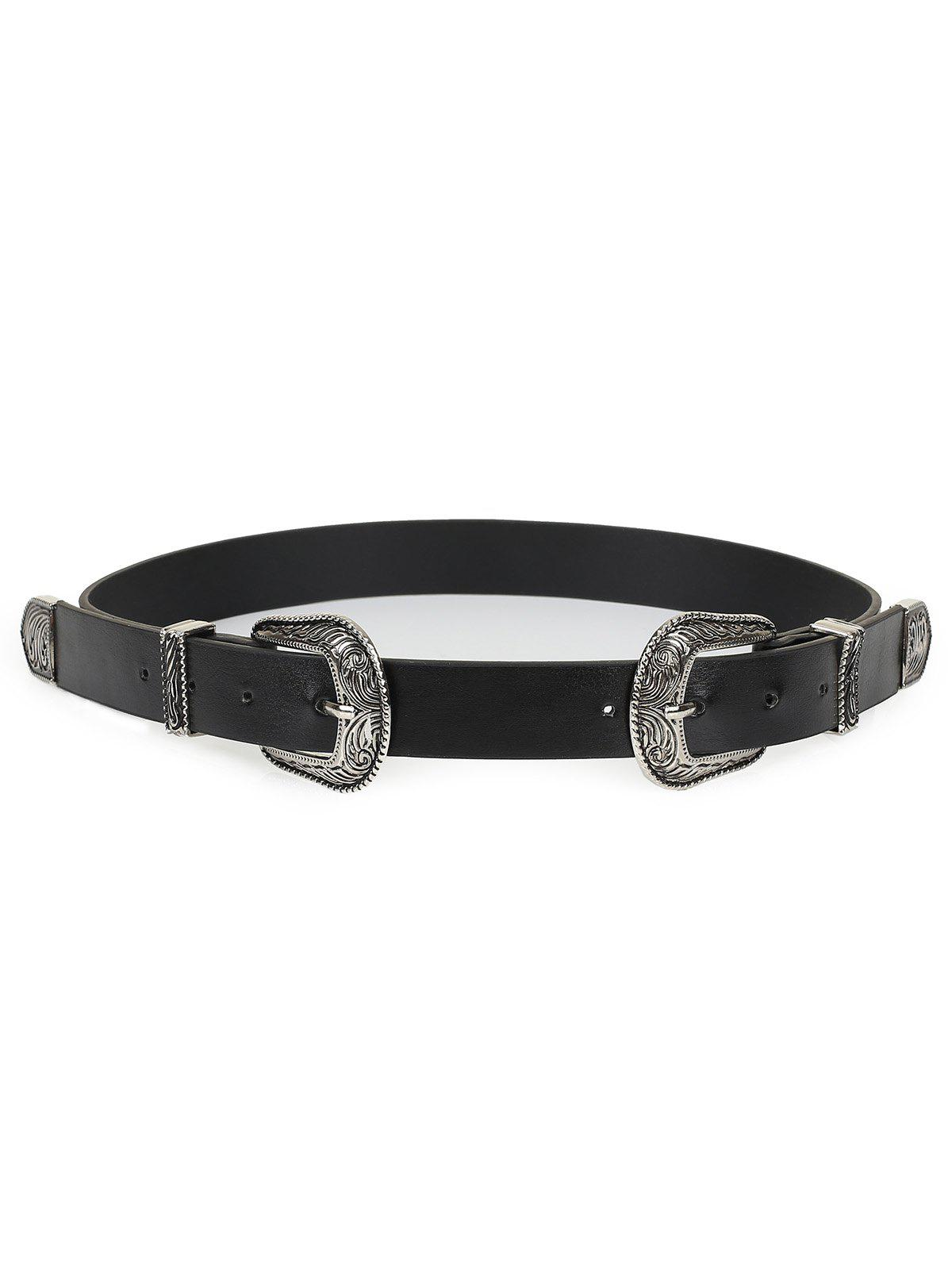 New Double Metal Buckle Faux Leather Waist Belt