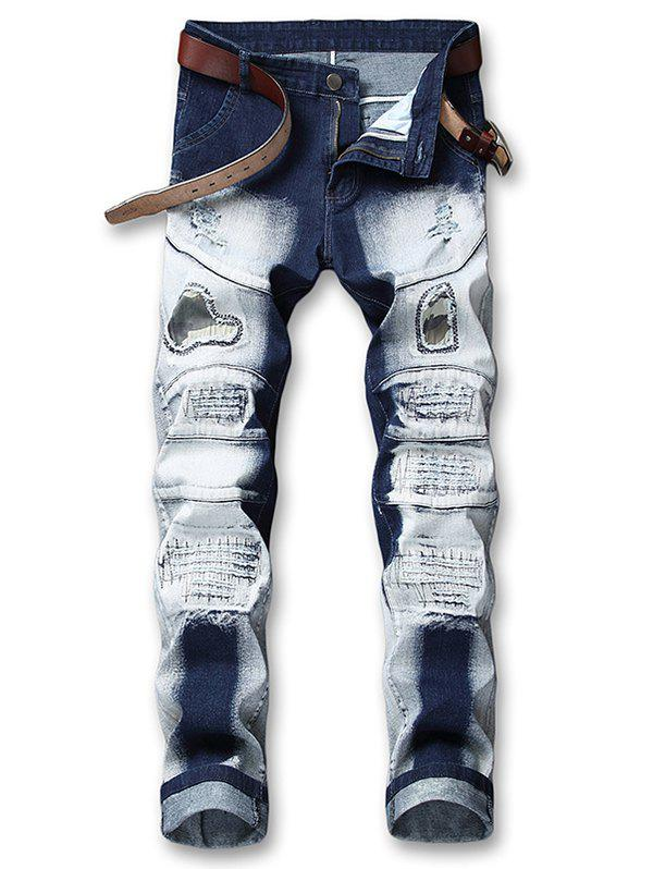 Cheap Hole Camo Patchwork Ripped Snow Washed Jeans
