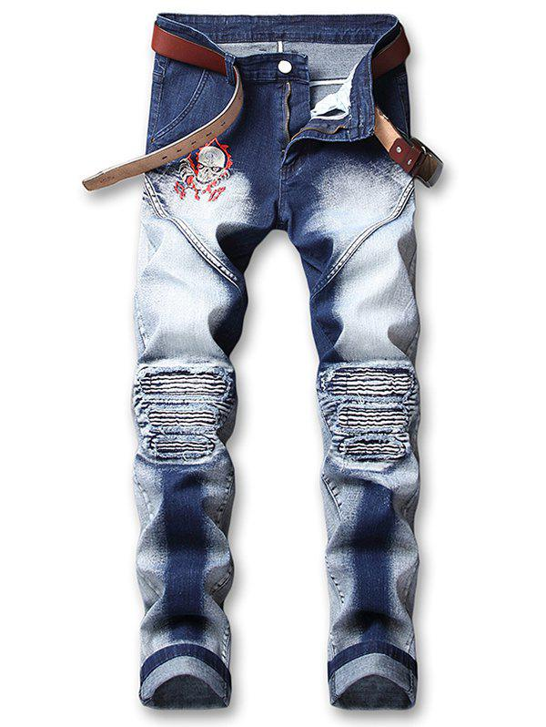 Fashion Skull Embroidery Knee Pleated Patchwork Faded Jeans