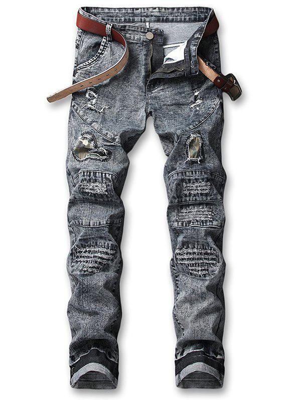 Store Hole Camo Patchwork Ripped Snow Washed Jeans