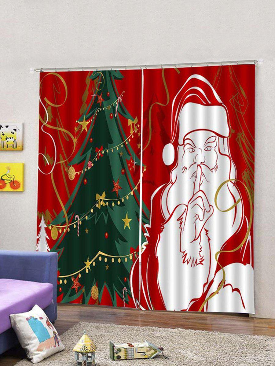 Outfit 2PCS Father Christmas Tree Design Window Curtains