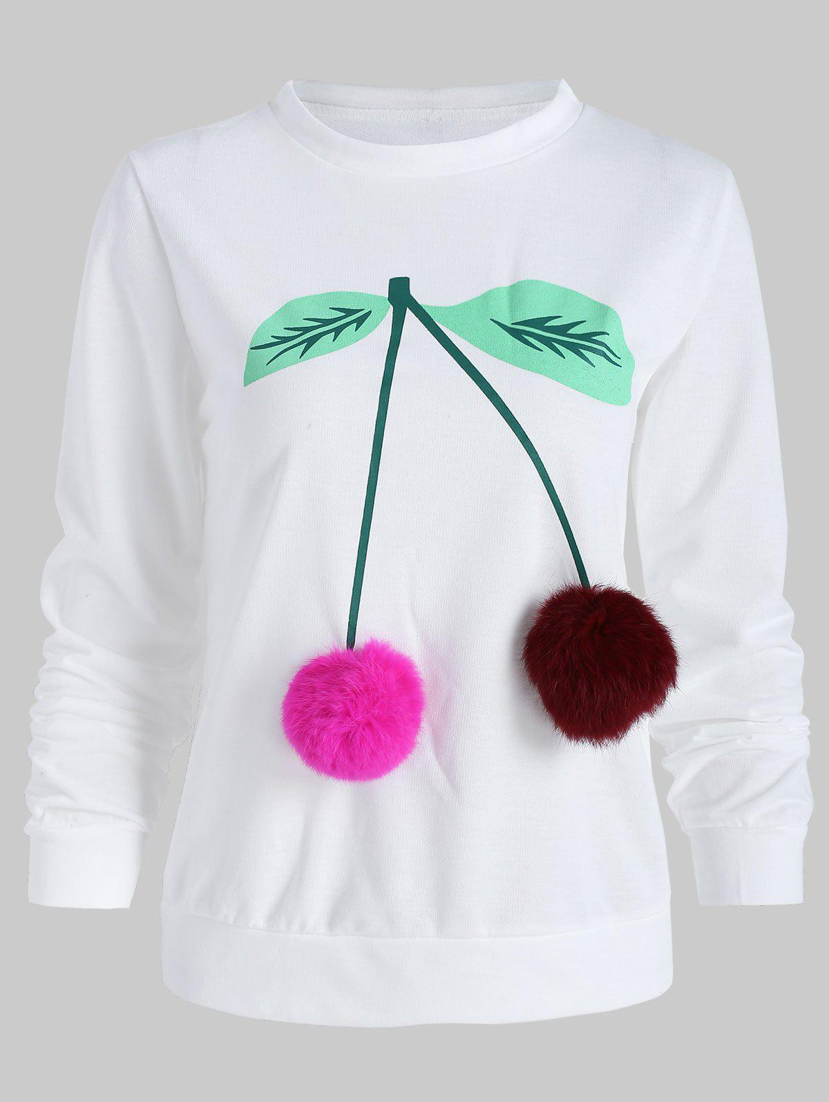 Outfits Cherry Print Fluffy Ball Sweatshirt