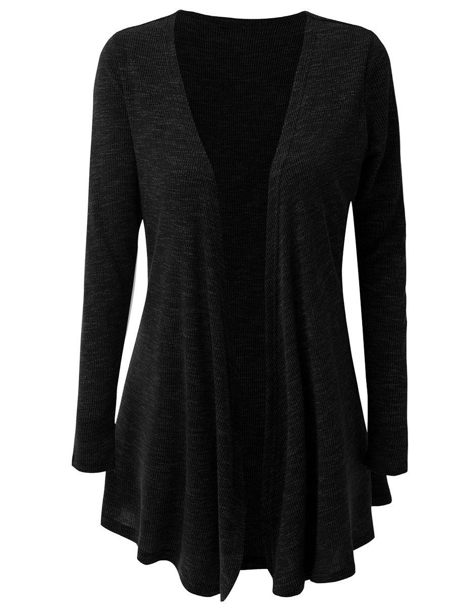 Latest Long Sleeve Ribbed Open Cardigan