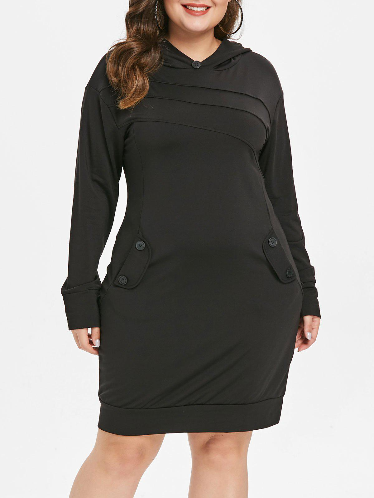 Cheap Long Sleeve Plus Size Hooded Dress