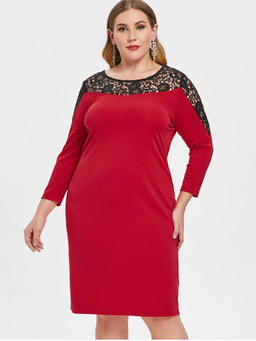 Plus Size Lace Insert Hollow Out Bodycon Dress