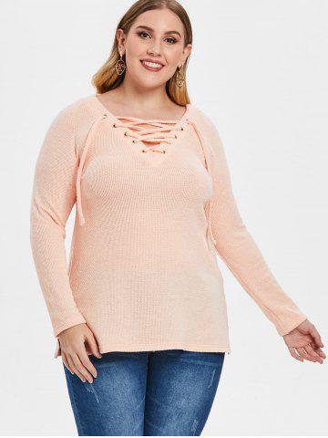 Plus Size Raglan Sleeve Lace Up Sweater