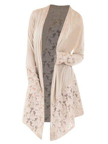 50ce2c6285e Collarless Plus Size Lace Panel Cardigan