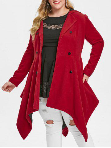 Plus Size Double Breasted Handkerchief Skirted Coat - RED - 1X