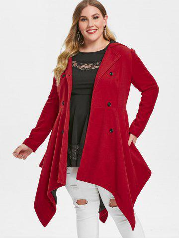 Plus Size Double Breasted Handkerchief Skirted Coat