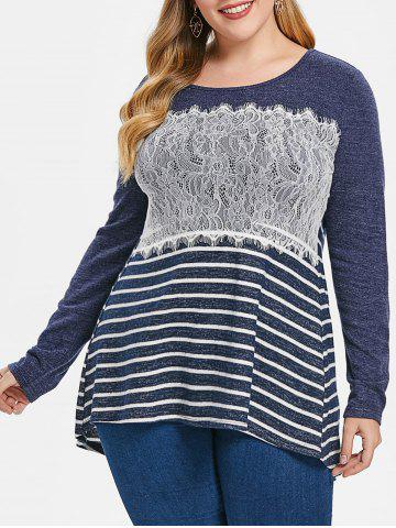 Plus Size Long Sleeves Lace Splicing Stripe High Low Tee
