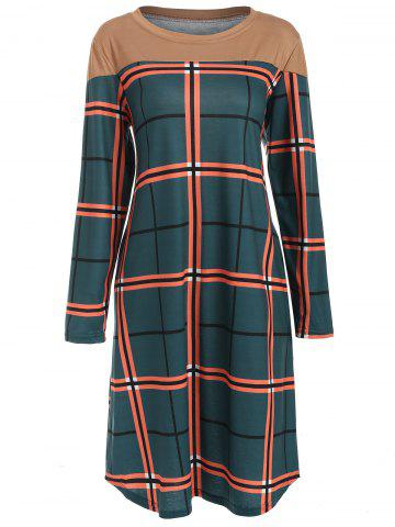 Round Neck Checked Casual Dress