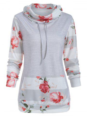 Floral Panel Cowl Neck Sweatshirt