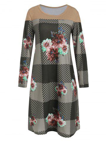 Checked Floral Print Long Sleeve Dress