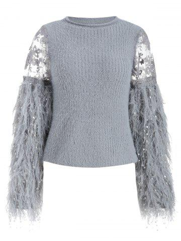 Fringe Lace Panel Pullover Sweater