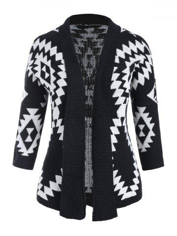 Geometric Open Plus Size Batwing Cardigan