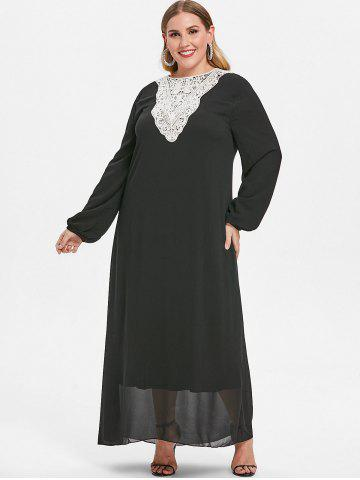 Round Neck Plus Size Lace Applique Maxi Dress