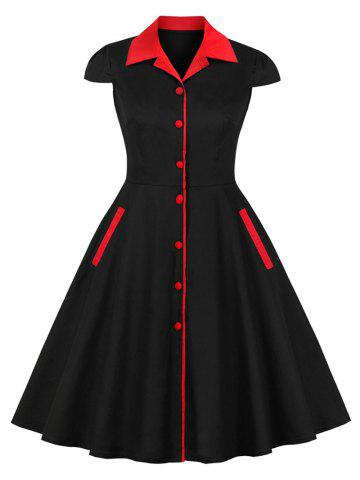 Vintage Contrast Buttons Pin Up Dress
