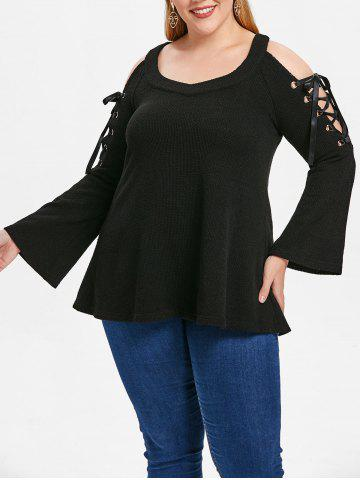 Lace Up Sleeve Plus Size Sweetheart Neck T-shirt - BLACK - 3X
