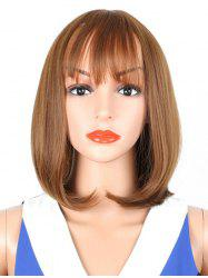 Medium See-through Bang Straight Bob Synthetic Wig -