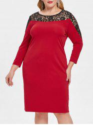 Plus Size Lace Insert Hollow Out Bodycon Dress -