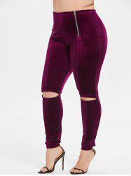 Plus Size Zip Ripped Velvet Leggings -
