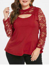 Plus Size Sheer Lace Sleeve T-shirt -