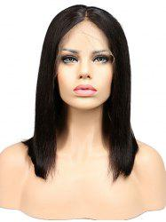 Human Hair Middle Part Straight Bob Lace Front Wig -