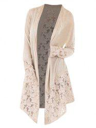 Collarless Plus Size Lace Panel Cardigan -