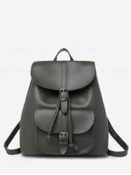 Buckle Strap Drawstring PU Leather Backpack -