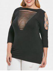 Plus Size Cut Out Criss Cross Sleeve T-shirt -
