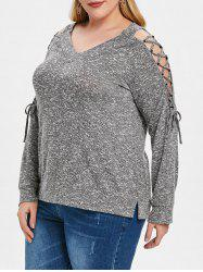 Plus Size V Neck Lace Up T-shirt -
