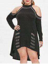 Ribbed Plus Size High Low Dress -