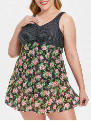 Dotted Panel Plus Size Floral Print Swimwear -