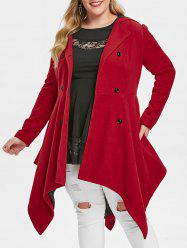 Plus Size Double Breasted Handkerchief Skirted Coat -