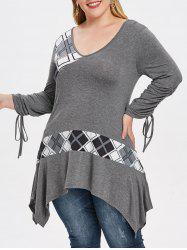 Plus Size V Neck Plaid Asymmetrical Tee -