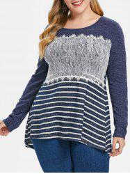 Plus Size Long Sleeves Lace Splicing Stripe High Low Tee -