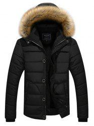 Faux Fur Hoodie Panel Parka Coat -
