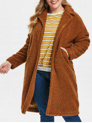 Plus Size Longline Fuzzy Coat with Open Front -