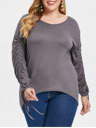 Drawstring Sleeve Plus Size V Neck T-shirt -
