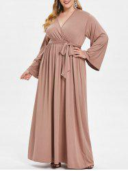 Surplice Neck Plus Size Long Sleeve Maxi Dress with Belt -
