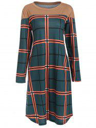 Round Neck Checked Casual Dress -