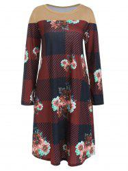 Checked Floral Print Long Sleeve Dress -