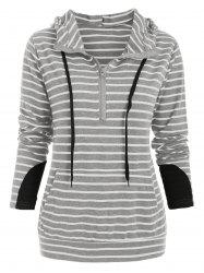 Half Zip Long Sleeve Striped Hoodie -