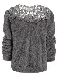 Openwork Floral Faux Fur Top -