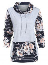 Floral Panel Long Sleeve Striped Sweatshirt -